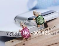 2014 Free Shipping,cute Small Tortoise Anti Dust Crystal Earphone Jack Plug for Iphone,phone Plug+organza Bags Gift 12pcs/lot