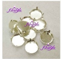 Fancy stone Crystal claw Four hole Round claw setting,sizes option:8mm,10mm ~ 30mm,35mm silver claw free shipping