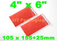 """LOW BULK PRICE 100 pcs Red Anti Static Bubble Envelopes Wrap Bags 4"""" x 6""""_105 x 155+25mm"""
