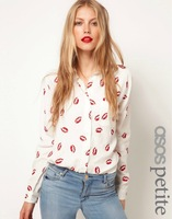 FREE SHIPPING women's turn-down collar long-sleeve fashion basic blouse with red lips