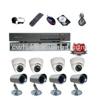 8CH complete camera  DVR kits SONY 600TVL 4pcs outdoor ir cameras and 4pcs indoor Analog CCTV Camera system
