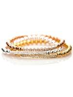 Gold, Silver, Rose Gold Beaded Tube Bar Connector Bracelet BS038