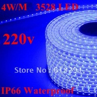 EMS Free Shipping +1Set 80W 3528 LED Strip RGB IP66 Waterproof 220V 20M 60LEDs/M 1200 LED Strip Colorful Strip Light +Controller
