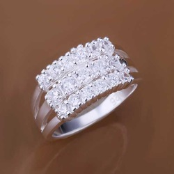 Free shipping 925 sterling silver jewelry ring fine fashion three line zircon finger rings top quality SMTR143(China (Mainland))