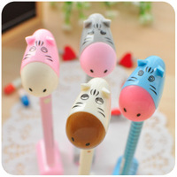 Min order is $10(mix order) Korea stationery cute stand donkey ballpoint pen hippopotami gift pen