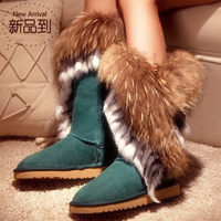 2012 new arrival autumn and winter fox fur rabbit fur tassel female high-leg boots cow muscle outsole cowhide snow boots