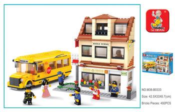 Best gift Building Block Set SlubanB0333 City bus/bus    Enlighten Construction Brick Toy Educational  Toy for Children
