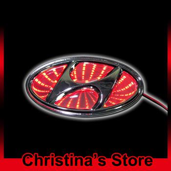 Free Shipping 3D car logo light for Hyundai car badge light auto led logo light auto emblem led lamp