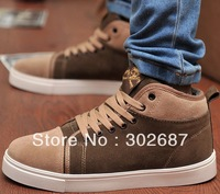 Men Fashion Splice Sneakers Warm Lace-up Shoes Skate Shoes Brown Free Shipping 1 Pair