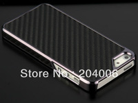 Deluxe Carbon Fiber Pattern Chrome Hard Case Cover For Apple iPhone 5 5G 5th 5s free shipping