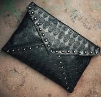 2014 Punk skull print envelope bag day clutch casual street women's handbag thermal bags free shipping