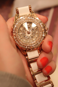 Luxury rhinestone full rhinestone ceramic watchband ladies watch fashion table watch