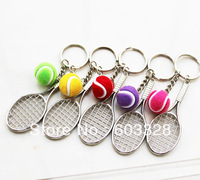 3D tennis & Tennis racket Sports Model key chain keyring Many colors to choose