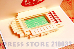 3D Liverpool Football Field Handmade Creative Kirigami & Origami Pop UP Greeting & Gift Card Free Shipping(China (Mainland))