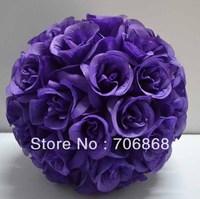 Dark Purple Color Artificial silk kissing rose flower ball 30cm outer diameter 12pcs/lot wedding Church decoration