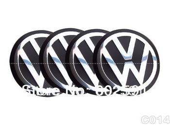 C014 VW Emblem Sticker Wheel Hub Cap Golf Jetta 55mm 4pcs set