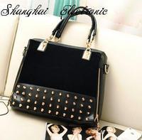 SALE Female 2012 fashion scrub rivet bag messenger bag multi-purpose big bags Free Shipping