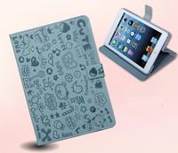 For mini ipad Magic girl Cartoon leather case 360 Rotate leather case Stand PU Leather case cover for iPad mini free shipping