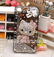 Bling Transparent Black Case or Cover for iPhone 4 4s 5 5s with Rhinestone and Pink Alloy Hello Kitty Decoration Handmade Shell