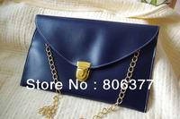 Custom made Navy Clutch PU Leather Womon Clutch Bag Envelope Clutch Chain Purse Tote Handbag