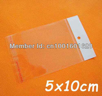 Clear Self Adhesive Plastic Cello Bag 5x10cm With Hanging Header