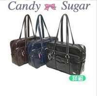 High quality candy PU student bag cos uniform package formal school bag sugar