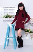 Free   shipping     Girl's autumn outfit dress turtle neck sweater