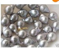 "18"" HUGE AAA 11-13MM AKOYA SILVER GREY BAROQUE PEARL NECKLCE 14K"
