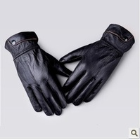 Free Shipping Korean autumn winter men's single buckle leather, warm winter, thin Sheep Leather Driving Gloves