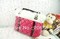Free shipping rabbit fur shoulder bag fashion plaid lady's handbag strap decoration black big bags