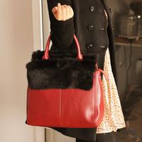 Free shipping 2012 OL elegant work bag rabbit fur bags fur women's handbag messenger bag