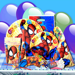 Free Shipping Child Birthday Party Supplies Spiderman Kids Birthday Party Packs 6 sets packing 60 pcs(China (Mainland))