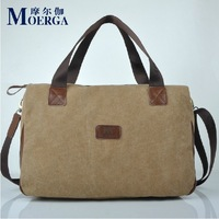 MOERGA 100% Cotton Men's Canvas Big Capacity One Shoulder Handbag Travel Bag Wholesale Free Shipping