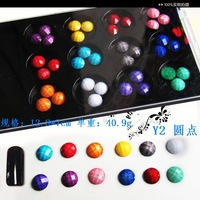 wholesale 2sets/lot plastic box packed mix faceted round resin beads flatback for nail art Y04+ free shipping