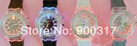 New Crystal Bezel Flash LED Backlight Light Classic Black Jelly  Lady Girl Sport Watch 100pcs/lot+free shipping