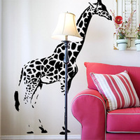 Free Shipping Wholesale Wall stickers Home Decor 960mm*1370mm PVC  Vinyl Removable Art Mural Giraffe C-53