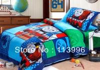 Hot Selling Thomas blue Children's Bedding Set 3PC Single size kids cartoon duvet cover set comforter sets free ship