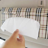 Car tissue box sun-shading board tissue box cover plaid car tissue box tissue cover hanging pumping paper box