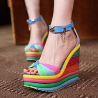 Fashion elegant women's shoes Rainbow Sexy lady's wedge high heel sandals shoes casual platform high heels female sandals 35-39