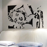 Free Shipping Wholesale Wall stickers Home Decor 560mm*840mm PVC  Vinyl Removable Art Mural Marilyn Monroe M-60