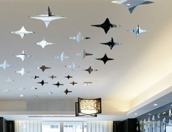 free shipping(one set) twinkle star mirror wall sticker ceiling decorarion decal 1MM thick PS plastic mirror home decor(China (Mainland))