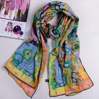 New arrivals lady silk shawls oil painting 100% silk fashion women silk scarf 156*42cm free shipping YH-08