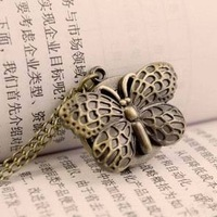 Free Shipping Best Copper Necklace Quartz  Butterfly Pocket Watch