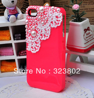 Handmade Quality Hard Cell Phone Case or Cover for iPhone 4 4s 5, Pearl and Lace Decored 1PCS