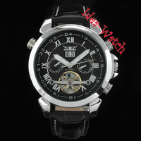 Fashion Men's Black Swiss AUTO Sports 6 Hands Tourbillon Watch Date
