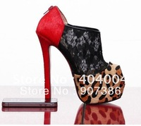 Wholesale&free shipping super high heels black lace leopard boots sandals brand 2012 new style women dress shoe