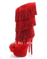 free shipping 2012 new arrival red bottoms Highness Tina Suede Fringe Knee-High Boots Brand Boots high heel leather boots