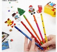 Wholesale Free Shipping Hot Selling 2012 Back to School 100 pieces/Lot Novelty Christmas Theme Kids Wooden Cartoon Pencil