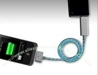 10/lot.Free shipping.Newest Cold light cable for Iphone4/4s flashing cable for ipad 3 / 2 with micro usb connector LED line data