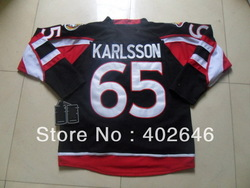 can mix order any items in a lot, Senators #65 Erik Karlsson black hockey jerseys, free shipping(China (Mainland))
